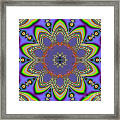 Fractalscope Flower 10 In Yellow Blue And Orange Framed Print