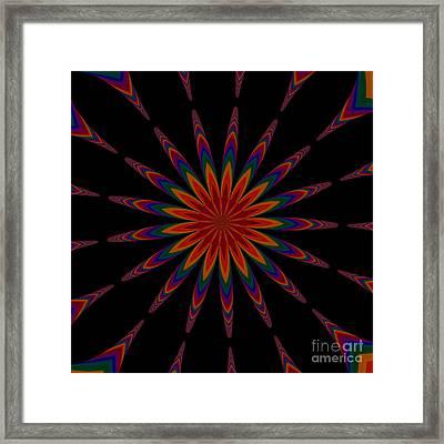 Fractalscope Flower 12 In Orange Blue Purple And Black Framed Print