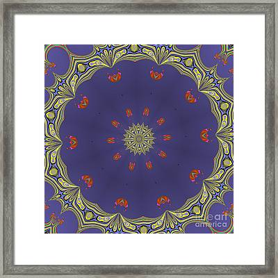 Fractalscope Flower 8 In Yellow Blue And Orange Framed Print