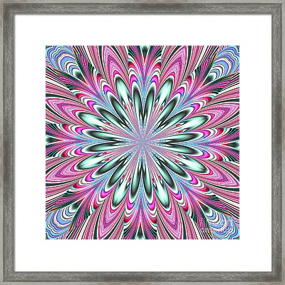 Fractalscope Flower In Pink Blue Green And White Framed Print