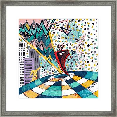 Fractionated City Scape Framed Print by Genevieve Esson
