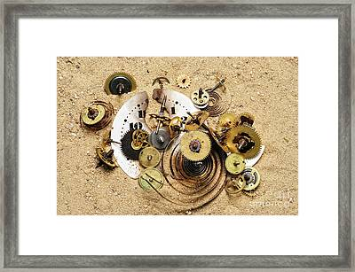 Fragmented Clockwork In The Sand Framed Print