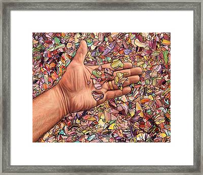 Fragmented Touch Framed Print by James W Johnson