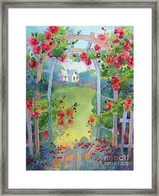 Framed By The Roses Framed Print