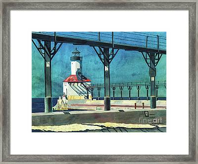 Framed Print featuring the painting Framed Lighthouse by LeAnne Sowa
