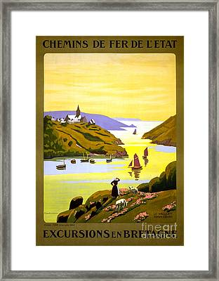 France Bretagne Vintage Travel Poster Restored Framed Print