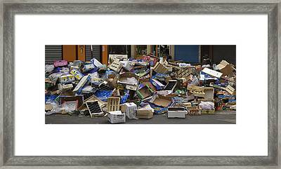France, Paris Trash On The Street Framed Print