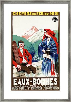 France Restored Vintage Travel Poster Framed Print by Carsten Reisinger