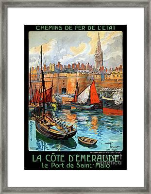 France Saint Malo Restored Vintage Travel Poster Framed Print by Carsten Reisinger
