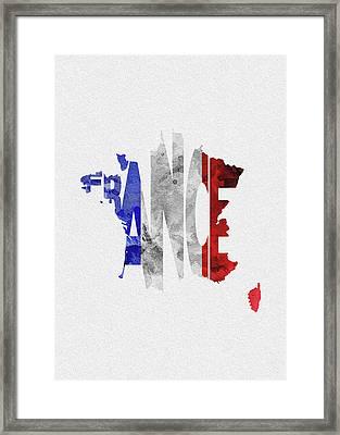 France Typographic Map Flag Framed Print