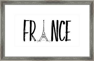 France Typography Panoramic Framed Print