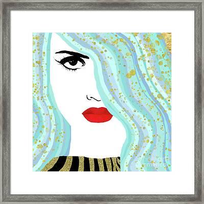 Francesca Has Mermaid Hair, Golden Bokeh, Fashion Art Framed Print