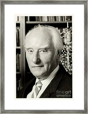 Francis Crick With Model Of Dna, 1995 Framed Print