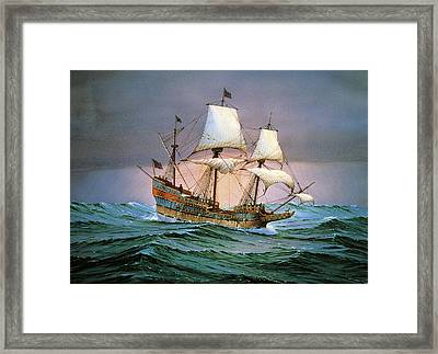 Francis Drake Sailed His Ship Golden Hind Into History Framed Print by Cornelis de Vries