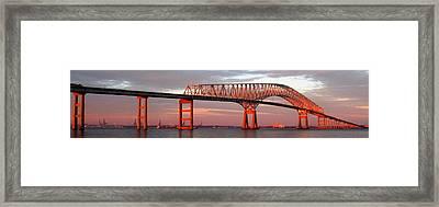 Francis Scott Key Bridge At Sunset Baltimore Maryland Framed Print by Wayne Higgs