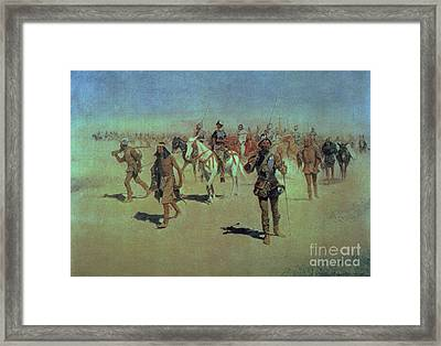 Francisco Vasquez De Coronado Making His Way Across New Mexico Framed Print by Frederic Remington