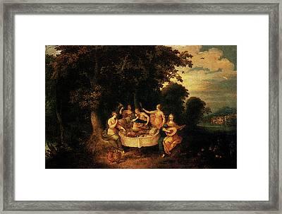 Franckent Abraham Govaerts The Five Senses Framed Print by Frans the younger Francken