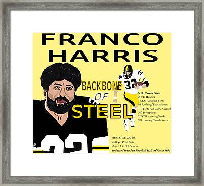 Franco Harris Backbone Of Steel Portrait Card Framed Print