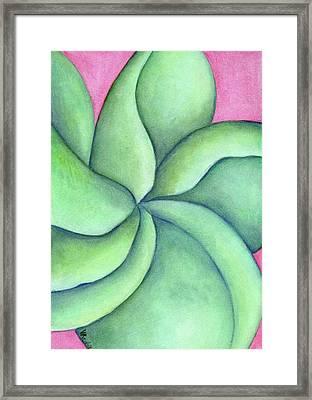 Frangipani Green Framed Print by Versel Reid