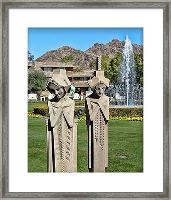 Frank Lloyd Wright Maidens At The Biltmore Framed Print by Diane Wood