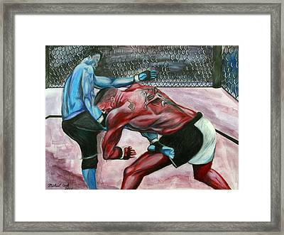 Frank Mir Vs. Brock Lesnar Framed Print by Michael Cook