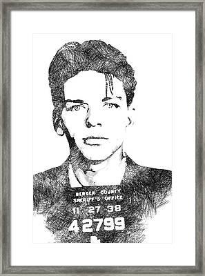Frank Sinata Bw Portrait Framed Print