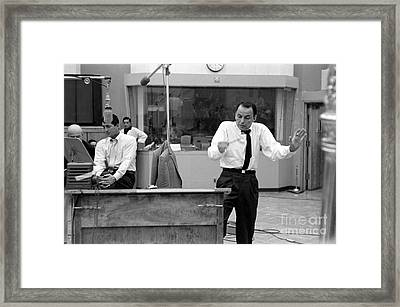 Frank Sinatra And Dean Martin At Capitol Records Studios 1958 Framed Print by The Titanic Project