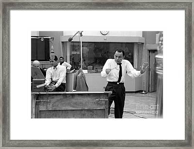 Frank Sinatra And Dean Martin At Capitol Records Studios 1958 Framed Print