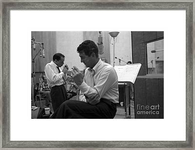 Frank Sinatra And Dean Martin At Capitol Records Studios Framed Print
