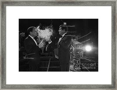Frank Sinatra And Dean Martin On A Tv Set Framed Print by The Titanic Project
