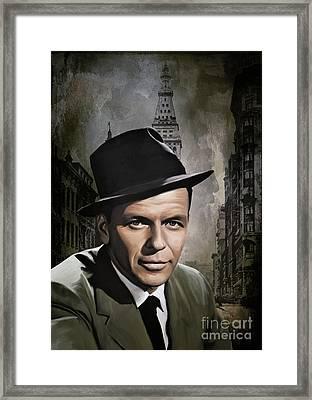 Framed Print featuring the painting  Frank Sinatra by Andrzej Szczerski