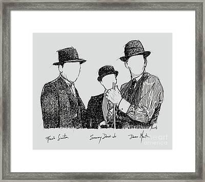 Frank Sinatra, Sammy Davis Jr And Dean Martin, A Part Of The Rat Pack Framed Print