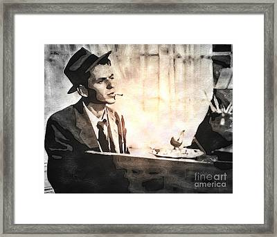Frank Sinatra - Vintage Painting Framed Print by Ian Gledhill