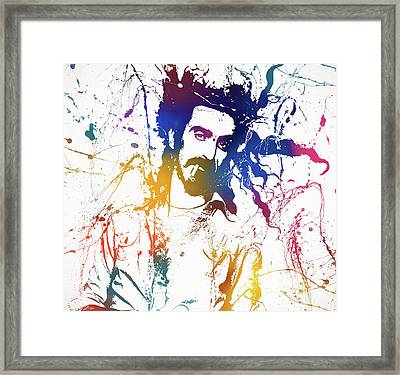 Frank Zappa Splatter Framed Print by Dan Sproul