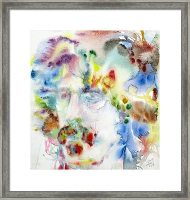 Frank Zappa - Watercolor Portrait.7 Framed Print