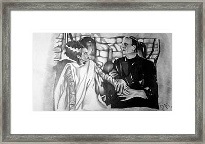 Frankenstein And His Bride Framed Print by Pauline Murphy