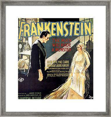 Frankenstein, Boris Karloff, Mae Clarke Framed Print by Everett