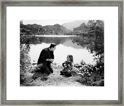 Frankenstein By The Lake With Little Girl Boris Karloff Framed Print