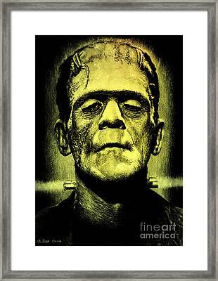 Frankenstein Green Glow Version Framed Print by Andrew Read