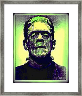 Frankenstein In Color Framed Print by Joan  Minchak