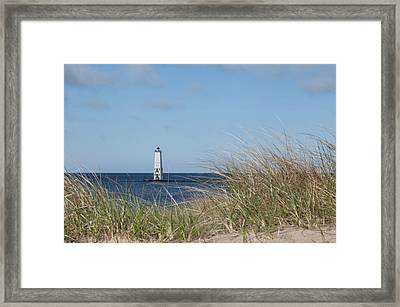 Framed Print featuring the photograph Frankfort North Breakwater Lighthouse by Fran Riley
