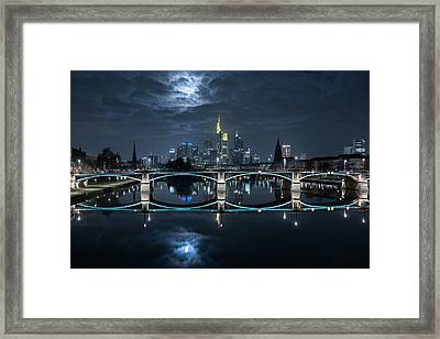Frankfurt At Full Moon Framed Print by Mike