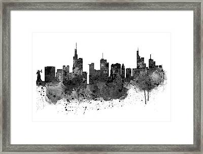 Frankfurt Black And White Skyline Framed Print