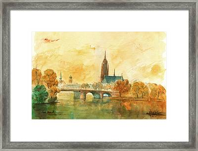 Frankfurt Cityscape With Dom Framed Print by Juan  Bosco