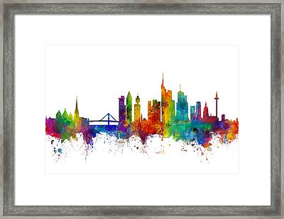 Frankfurt Germany Skyline Framed Print by Michael Tompsett