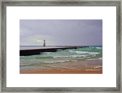 Frankfurt Lighthouse Breakwater Framed Print