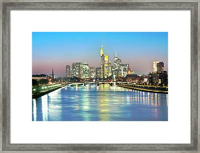 Frankfurt  Night Skyline Framed Print by Ixefra