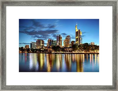 Framed Print featuring the photograph Frankfurt Skyline At Night by Marc Huebner