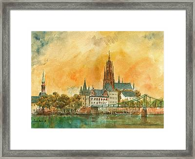 Frankfurt Watercolor Framed Print by Juan  Bosco