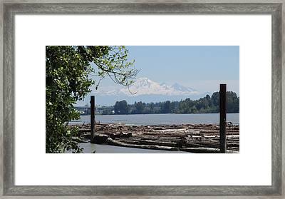 Fraser River And Mount Baker Framed Print